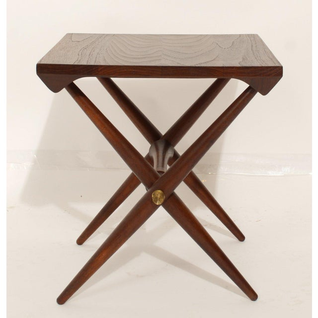 Jens Quistgaard side table staved teak. Wonderful solid teak table with turned brass fittings. Marked on the underside....