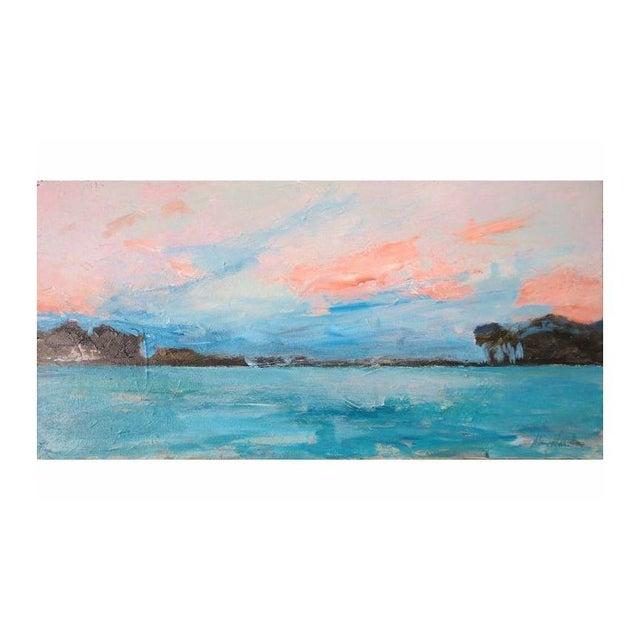 """Mary Houston Acrylic on Canvas """"Textured Sunset"""" - Image 1 of 2"""