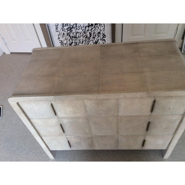 Modern R & Y Augousti Natural Shagreen 3-Drawer Commode For Sale - Image 3 of 8