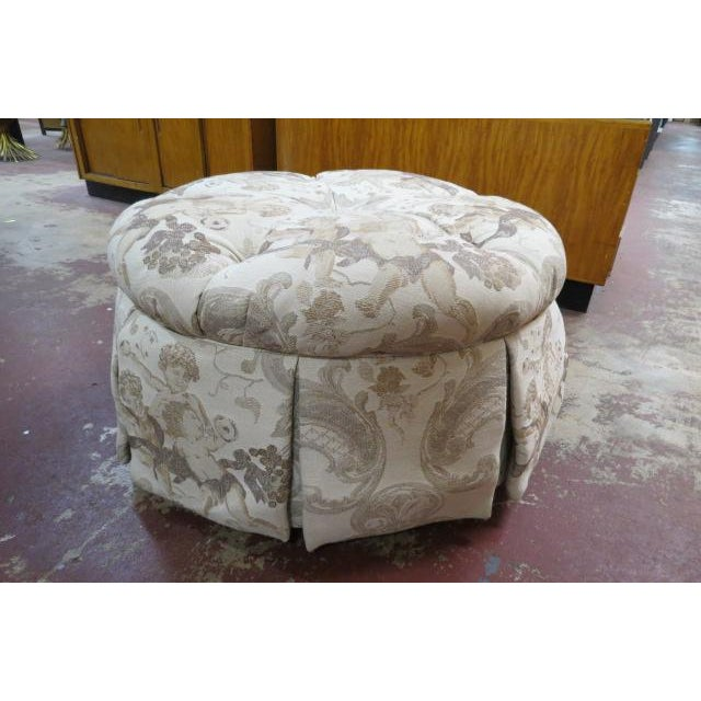 Vintage John M. Smith Round Ottoman For Sale In Chicago - Image 6 of 6