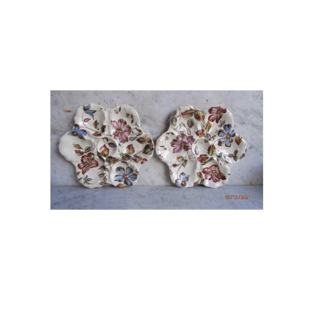 Victorian 19th Century English Majolica Oyster Plate With Flowers Adderley For Sale - Image 3 of 8