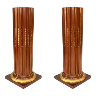 French Louis XVI Mahogany Column Pedestals For Sale