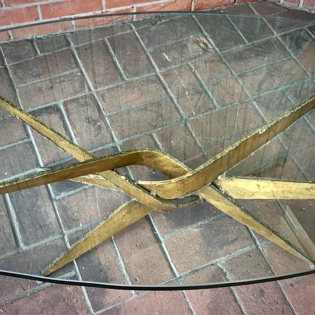 Mid-Century Modern 1960s Silas Seandel Brutalist Gold Metal + Glass Coffee Table For Sale - Image 3 of 7