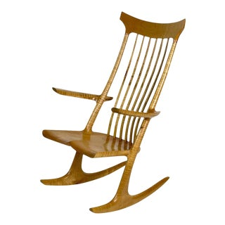 Incredible Sculptural Studio Handcrafted Rocker Rocking Chair in Solid Curly Maple For Sale