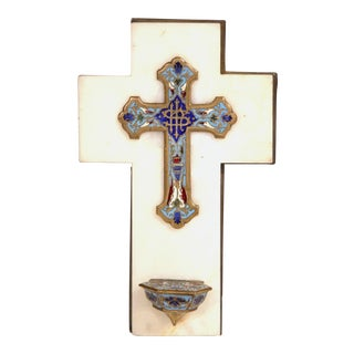 19th Century French White Marble Cross and Holy Water with Cloisonné Technique For Sale
