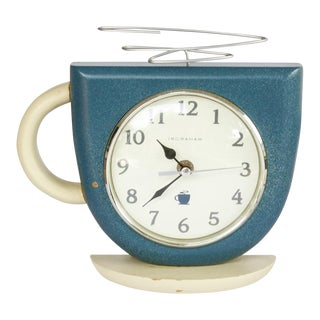 Vintage Steaming Coffee Cup Wall Clock by Ingraham Cream and Deco Blue For Sale