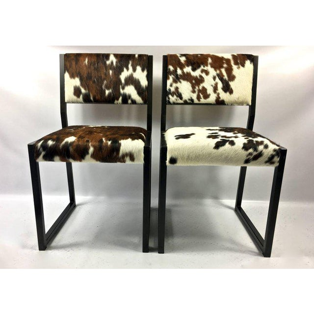 Pony Skin Blackened Steel Frame Dining Chairs - Set of 4 For Sale - Image 4 of 10