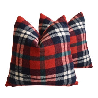 """Scottish Tartan Plaid Wool Feather/Down Pillows 22"""" Square - Pair For Sale"""