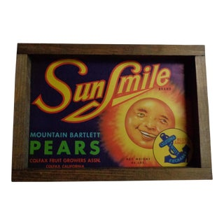 Vintage 1940s Pears Fruit Crate Label Sign in Handmade Frame For Sale