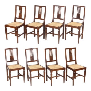 Vintage Italian Walnut Rush Seat Chairs, Set of 8 For Sale