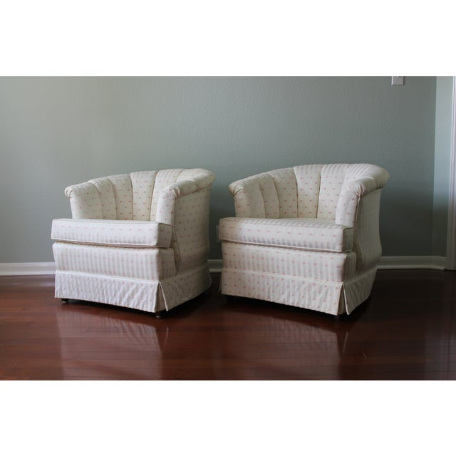 Upholstered Tufted Barrel Chairs - A Pair For Sale - Image 4 of 11