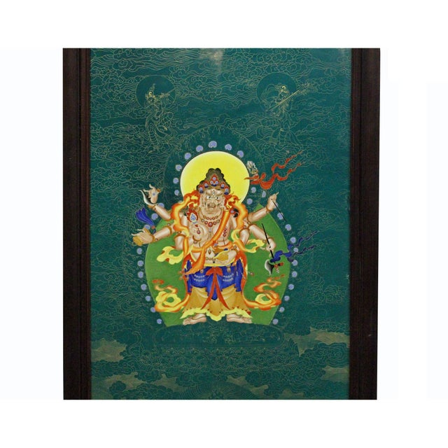 Chinese Porcelain Teal Blue Tibetan Deity Painting Wall Decor For Sale In San Francisco - Image 6 of 9