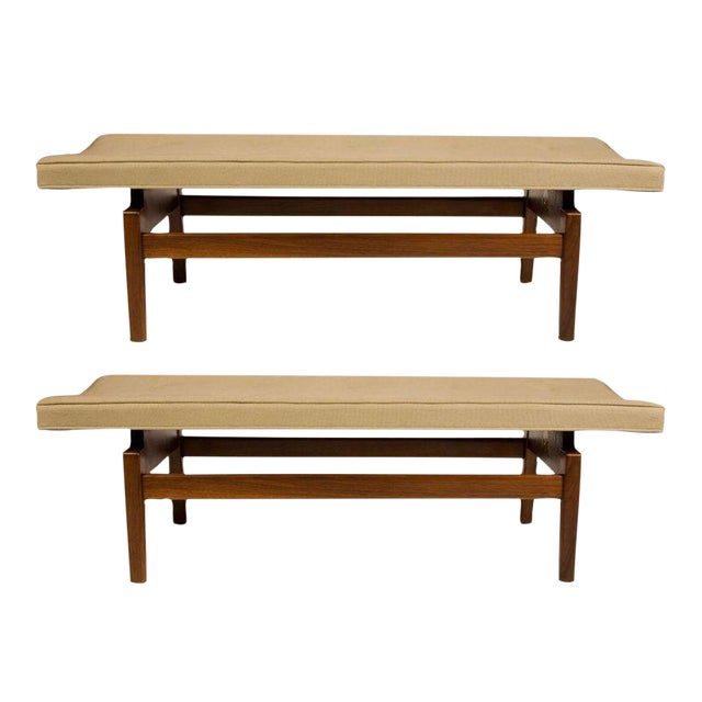 Jens Risom Floating Upholstered Benches - a Pair For Sale