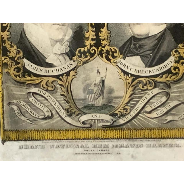 Paper 1856 N. Currier Buchanan & Breckenridge Grand National Democratic Banner For Sale - Image 7 of 11