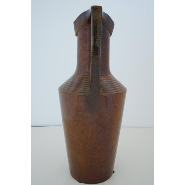 Vintage Art Deco 1920s Egyptian Revival Handled Jug Urn Vase Glazed Ceramic For Sale - Image 4 of 9