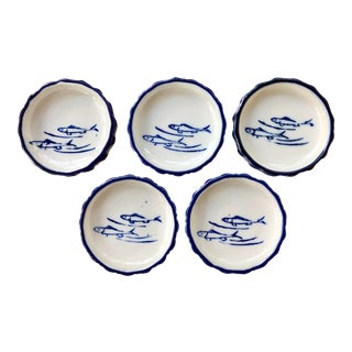 Japanese Blue and White Porcelain Fish Sauce Dishes - Set of 5 For Sale
