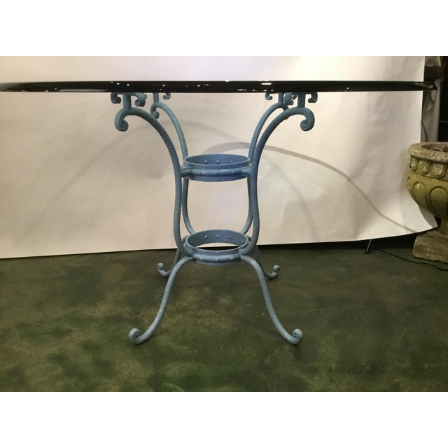 1950s French Blue Iron Base Table With Rounded Beveled Edge Glass Top For Sale - Image 5 of 11