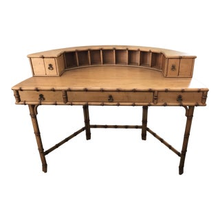 Faux Bamboo Hollywood Regency Demilune Writing Desk