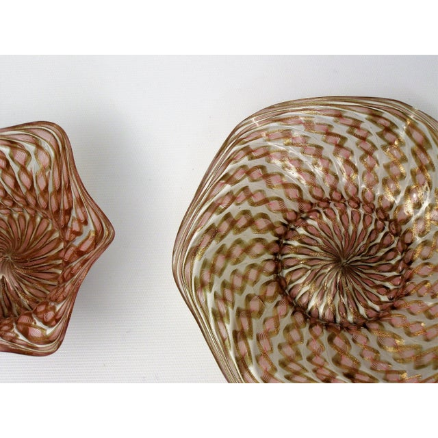Art Glass Vintage Venetian Zanfirico Latticino Glass Finger Bowl and Matching Plate by Salviati- 1950s Italy Italian Mid Century Modern MCM Millennial Pink For Sale - Image 7 of 11