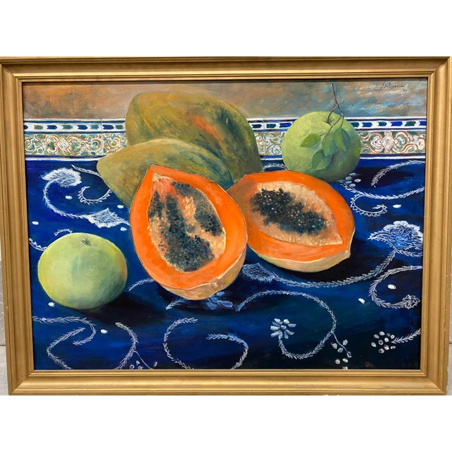 """Carmen Galigarcia """"Cuban Kitchen"""" Original Oil on Canvas Painting For Sale - Image 9 of 10"""
