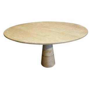 Angelo Mangiarotti Travertine Pedestal Table