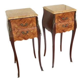 Pair Louis XV Style Bombe Commode Nightstands For Sale