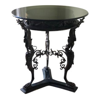 1990s Gothic Circular End Table With Smoked Glass Top For Sale