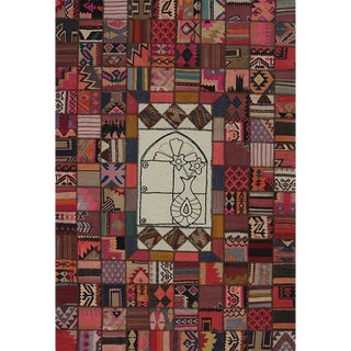 Vintage Mid-Century Patchwork Persian Rug - 6′7″ × 9′10″ For Sale