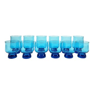 Mid-Century Modern Caribbean Blue Lowball & Highball Tumblers - Set of 12 For Sale