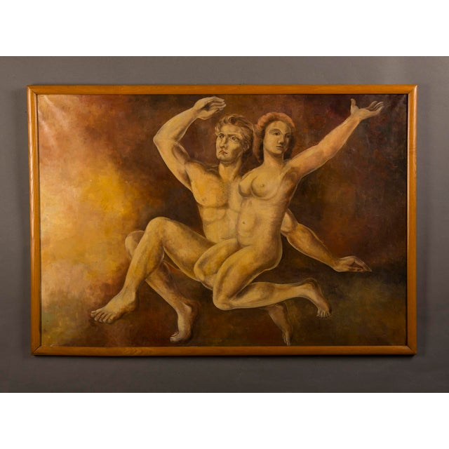 A large vintage oil on canvas painting of Adam and Eve signed in the lower right corner by the Dutch artist M. Raemdonck...
