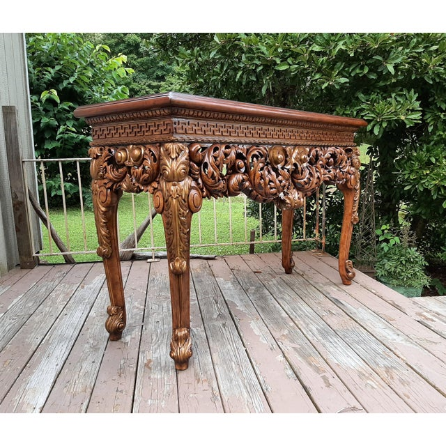 Vintage Theodore Alexander Althorp Carved Wood Gilded Console Table For Sale - Image 13 of 13