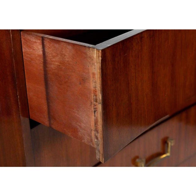 Modern Pair of Modern Concave Mahogany Chests Att. To Parzinger For Sale - Image 3 of 5