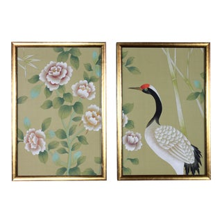 Pale Chartreuse Green Silk Chinoiserie Wallpaper Diptych Paintings - 2 Pieces For Sale