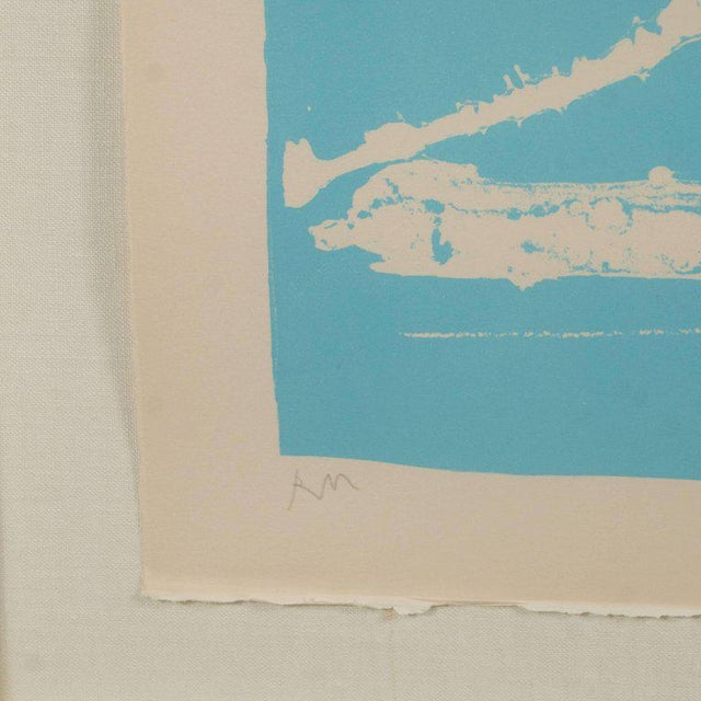 Signed Lithograph by Robert Motherwell Untitled Abstract Pale Blue on White - Image 5 of 10