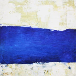 Abstract Watery Landscape Blue & White Beach Oil Painting by Paul Ashby