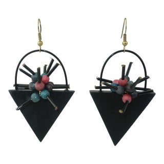 Memphis Style Atomic Wood Dangle Earrings, 1980's For Sale