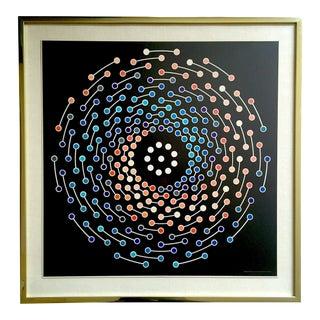 "John Willenbecher Rare Vintage 1970 Mid Century Modern Framed Op Art Lithograph Print "" Spectral "" 1968 For Sale"