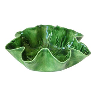 1960s Country MaJolica Ceramic Cabbage Leaf Bowl For Sale