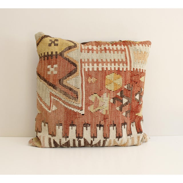 Beautiful vintage Turkish Kilim pillow. Great tribal design in muted shades of red, brown, mustard, beige, and orange....