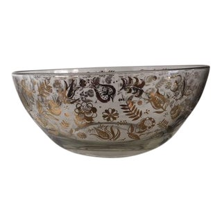 Georges Briard Signed Persian Garden Floral Gold Inlaid Design Large Bowl For Sale