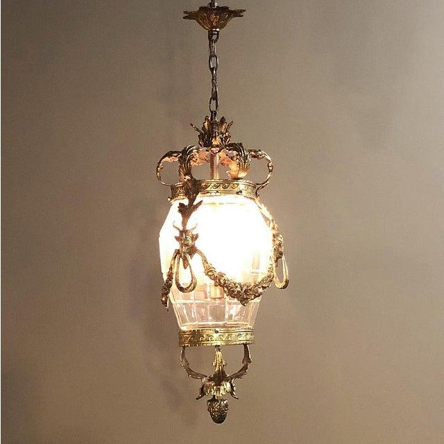 Metal Antique Bronze & Crystal Lantern Chandelier For Sale - Image 7 of 12