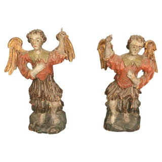 Carved Wood Angels, Pair For Sale