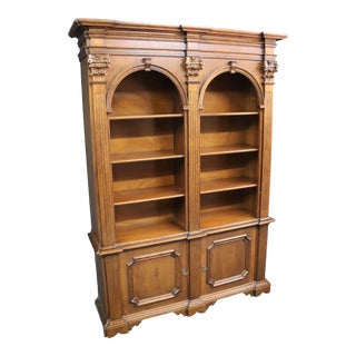 Italian Carved Walnut Arched Bookcase For Sale