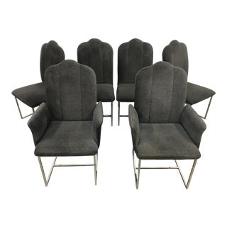 Channel Back Chrome Base Dining Chairs - Set of 6