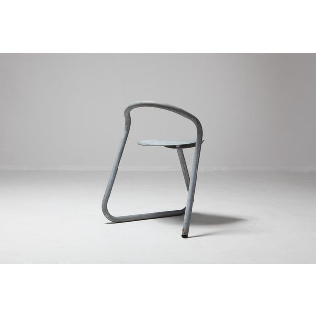 Danish Stackable Chairs in Galvanized Steel by Erik Magnussen For Sale - Image 10 of 12