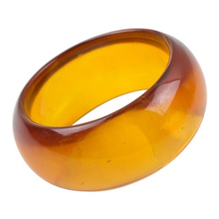 Bakelite Bracelet Bangle Transparent Prystal Orangeade With Thick Wall For Sale