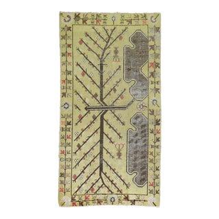 Yellow Vintage Khotan Rug, 4'9'' x 8'6''