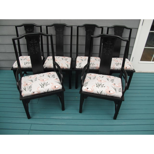 Vintage dining chairs with new upholstery of modern pink flamingos. The chairs are very good quality made by century...