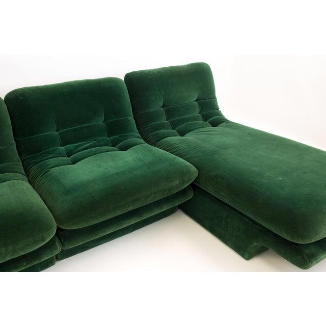 Mid-Century Modern Vladimir Kagen for Preview Hunter Green Velvet Sectional Sofa For Sale - Image 9 of 12