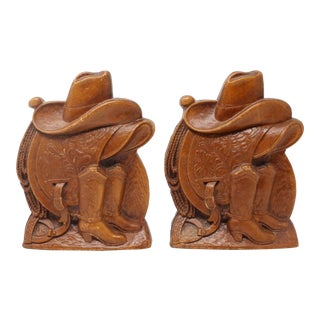 Vintage Rustic Cowboy Bookends by Syroco Wood For Sale